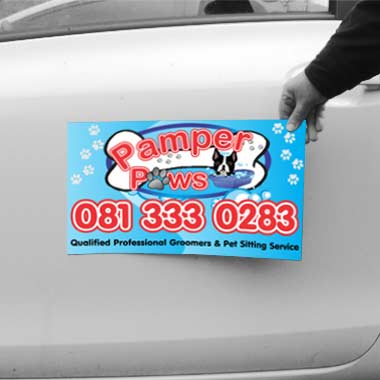 Full colour printed car magnets manufactured by Stitched Flags and Banners